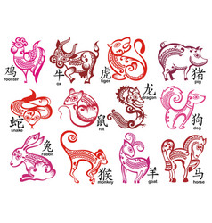 chinese zodiac signs design set vector image
