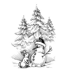 christmas funny scene winter landscape this vector image