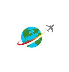 Circle earth planet airplane creative logo vector