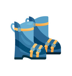 Close-up view of a warm blue ski boots vector