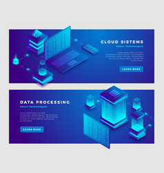 Cloud sistems and data processing concept banner vector