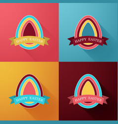 colorful easter eggs with ribbonbackgroundgift vector image