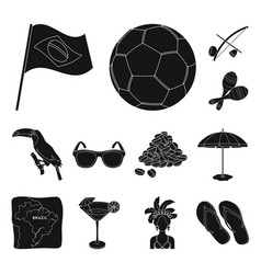 country brazil black icons in set collection for vector image