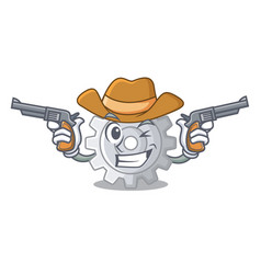 Cowboy roda gear simple image on cartoon vector