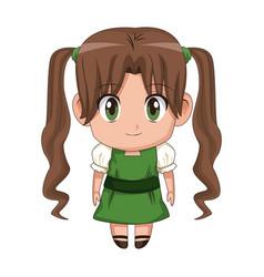 Cute anime chibi little girl cartoon style vector