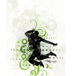Dancer on floral background vector