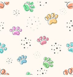 dog paw - cute seamles pattern vector image