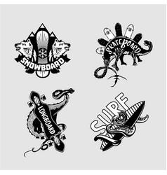 extreme sport vintage emblem set with boards vector image