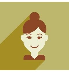 Flat web icon with long shadow womens haircut vector