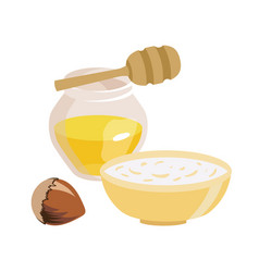 Food for lent time transparent jar with honey a vector