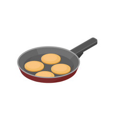 frying pan with pancakes tasty snack for vector image