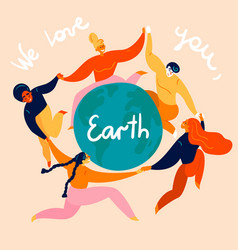 group women is dancing around earth globe vector image