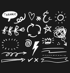 hand drawn set elements white on black vector image