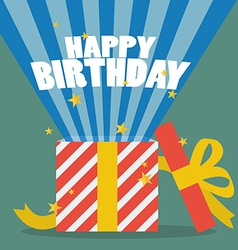 Happy birthday with a gift box vector image vector image