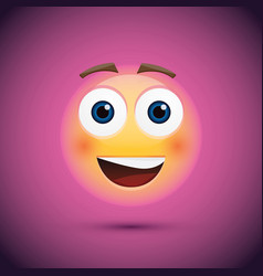 happy emoji smiley on purple background vector image
