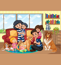 Happy family staying at home vector