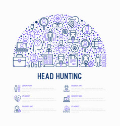 Head hunting concept in half circle vector