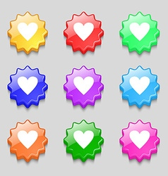 Heart sign icon Love symbol Symbols on nine wavy vector image