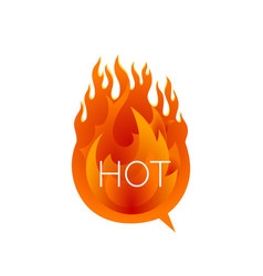 hot fire speech bubble sale comic text speech vector image