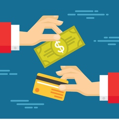 Human Hands with Card and Dollar - Exchange vector