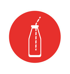 juice bottle with straw vector image