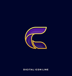 letter c digital icon colorful design template vector image