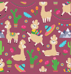 llama seamless pattern alpaca baby and cactus vector image