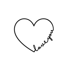 love you - calligraphy word with hand drawn heart vector image