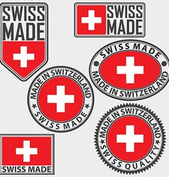 Made in Switzerland label set with flag Swiss made vector