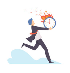 Man runs with a burning clock vector