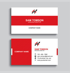 Minimal business card print template design red vector