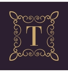 Monogram letter T Calligraphic ornament Gold vector