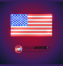 Neon sign usa flag vector