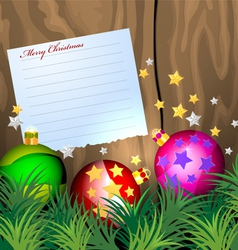 Notepaper with Christmas balls vector image