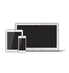 Open laptop smartphone and tablet pc template for vector