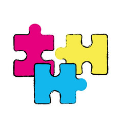 outline color parts puzzle mental game vector image