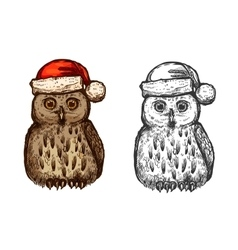 Owl in red christmas hat sketch icon vector