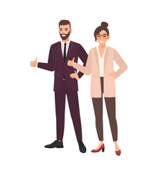 pair of office workers standing together and vector image