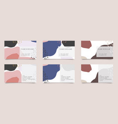 Patterned business card collection vector