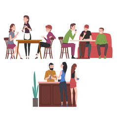 people drinking coffee and relaxing at coffeehouse vector image