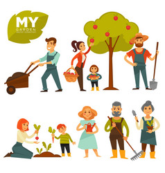 People working in garden colorful poster on vector