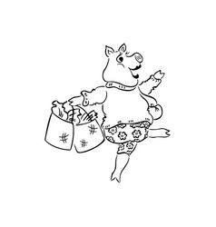 pig lady dancing outlined cartoon hand drawn sketc vector image