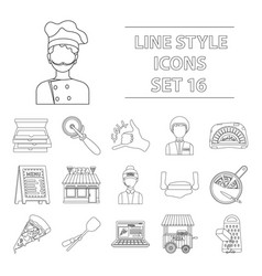 Pizza and pizzeria set icons in outline style big vector