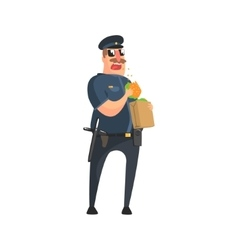 Policeman in american cop uniform with truncheon vector