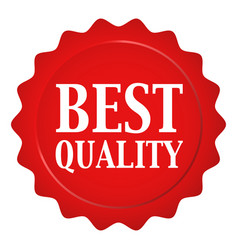 Red wax seal with best quality text vector