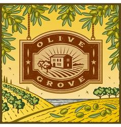 Retro olive grove vector