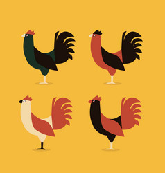 Roosters or corks fighter four style color vector