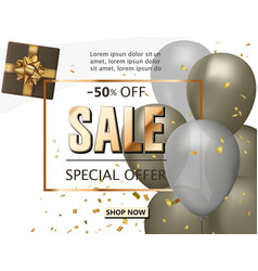 sale shop background with golden confetti sale vector image