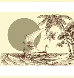 sea scene a boat on waves and palm trees on the vector image
