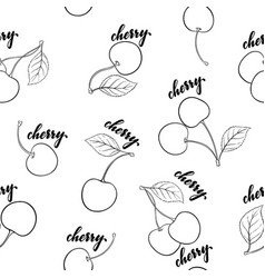 Seamless pattern black and white cherries vector
